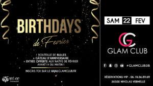 birthdays, février, glam club, flyer